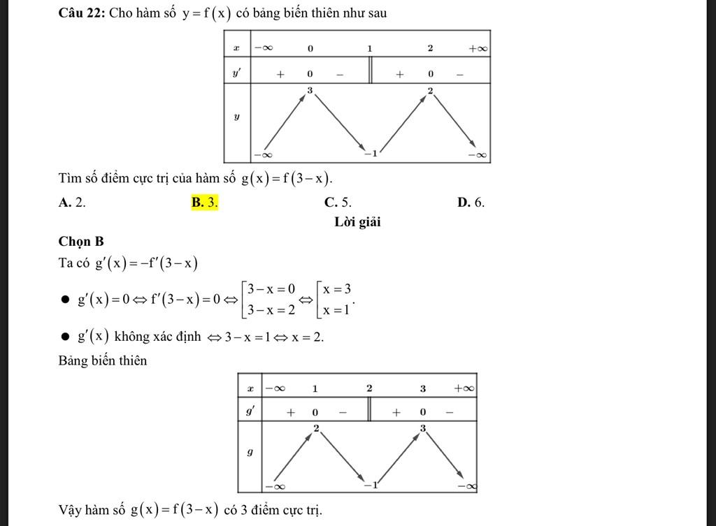 Cho e hỏi là tại sao mình lại biết được dấu của g'(x) để xét trong bảng biến thiên vậy ạ?